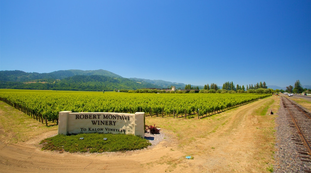 Napa Valley Wine Train showing tranquil scenes, farmland and signage