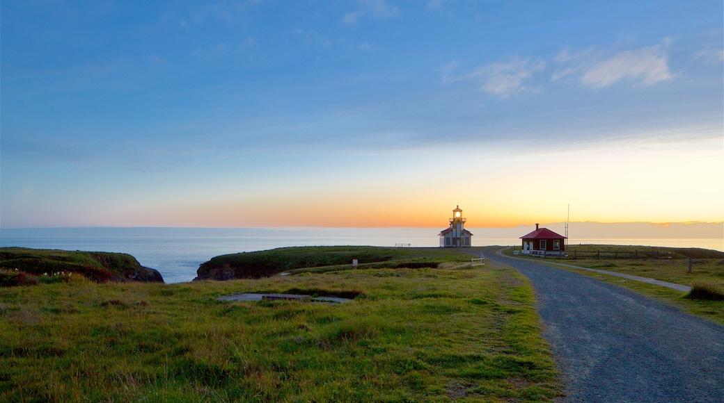 Mendocino which includes a lighthouse, a sunset and general coastal views
