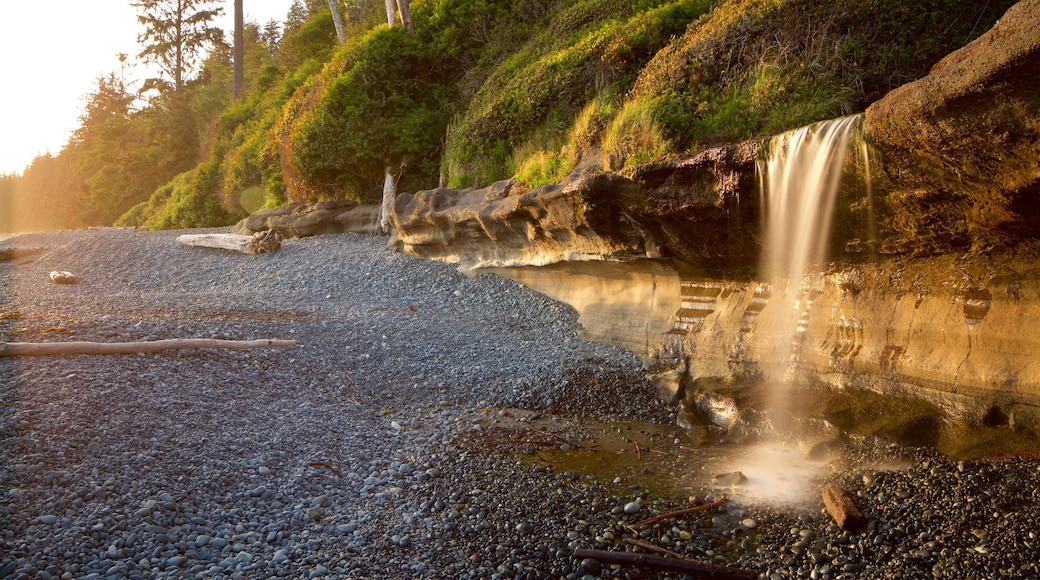 Sooke which includes a pebble beach and a sunset