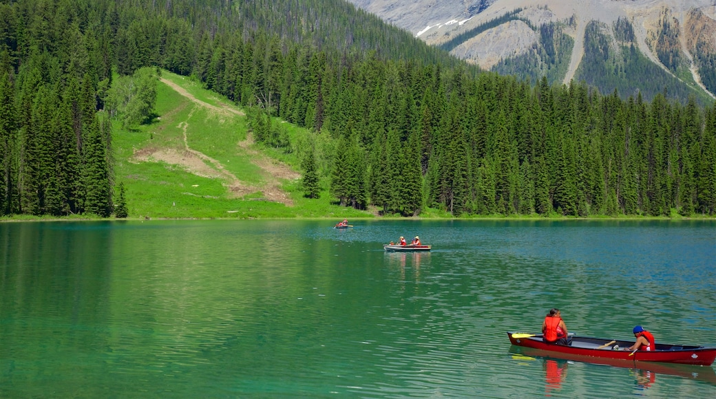 Yoho National Park featuring a lake or waterhole, tranquil scenes and kayaking or canoeing