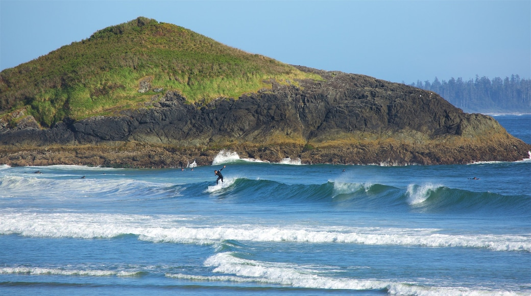 Long Beach featuring surfing, general coastal views and rocky coastline