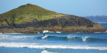 Long Beach featuring rocky coastline, surfing and waves