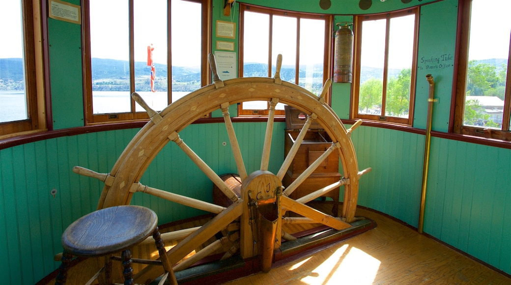 S.S. Sicamous Inland Marine Museum showing boating and interior views