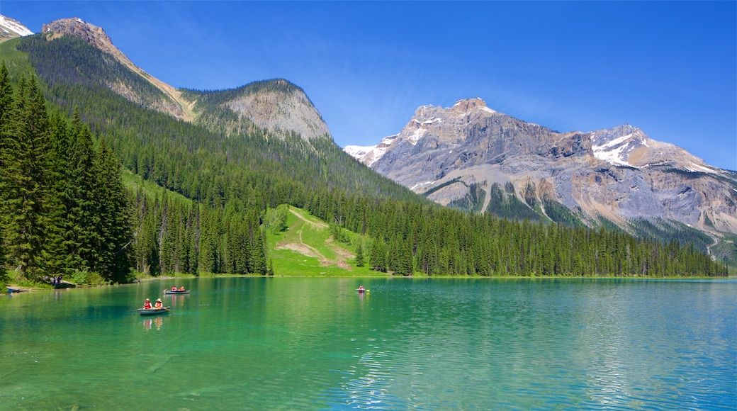 Yoho National Park featuring kayaking or canoeing, tranquil scenes and mountains