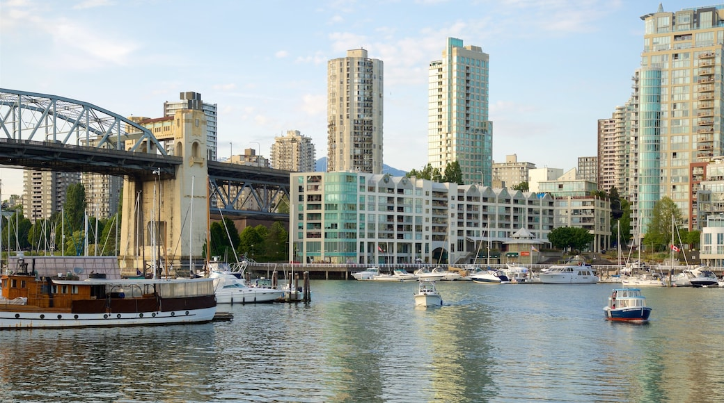 Granville Island showing a bridge, a bay or harbor and boating