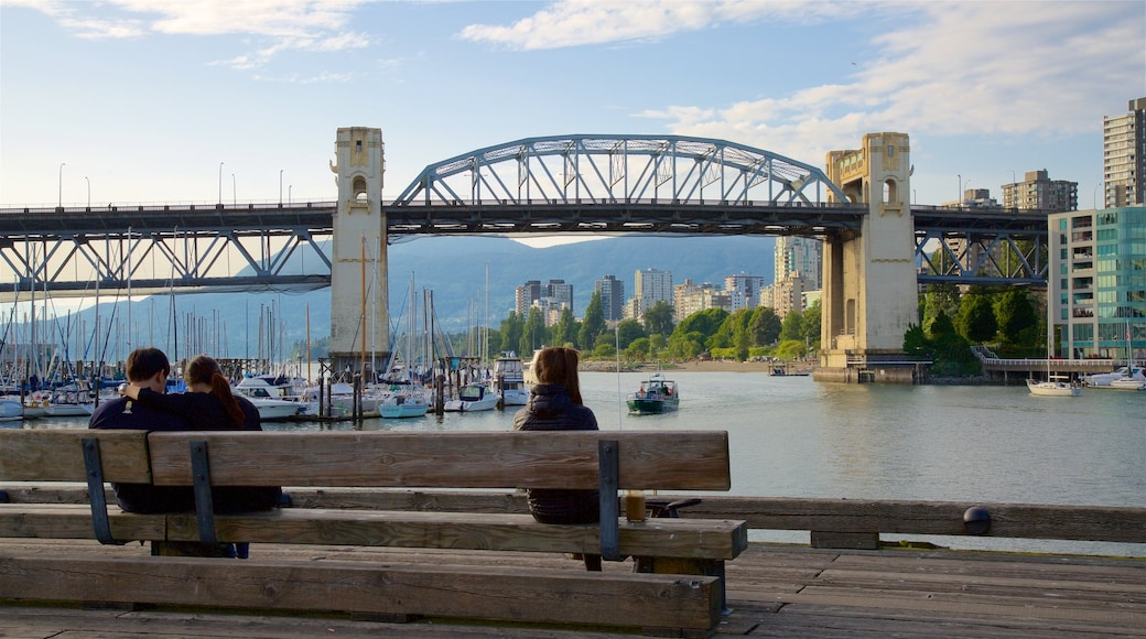 Granville Island featuring a bay or harbor, a river or creek and a city