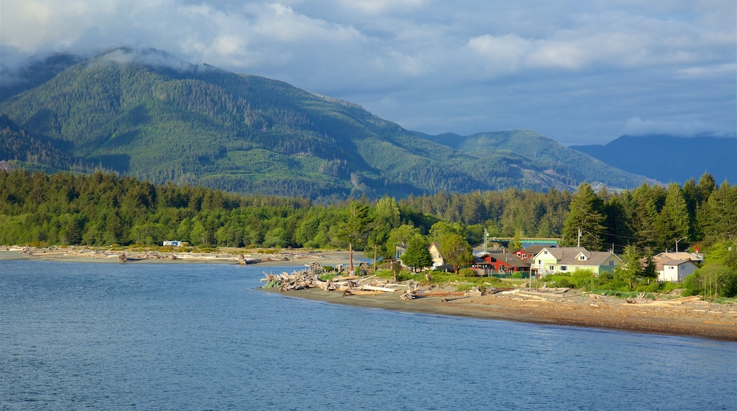 Port Renfrew featuring a lake or waterhole, mountains and a small town or village