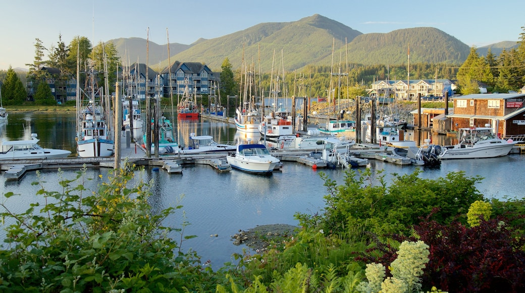 Ucluelet featuring a sunset, a bay or harbour and mountains