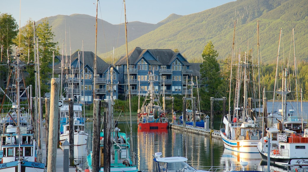 Ucluelet which includes a sunset, mountains and a bay or harbour