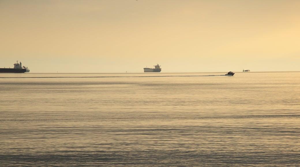 Ambleside Park mostrando un atardecer, botes y vista general a la costa