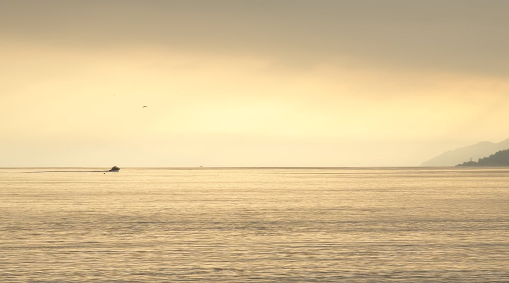 Ambleside Park mostrando vista general a la costa, botes y un atardecer