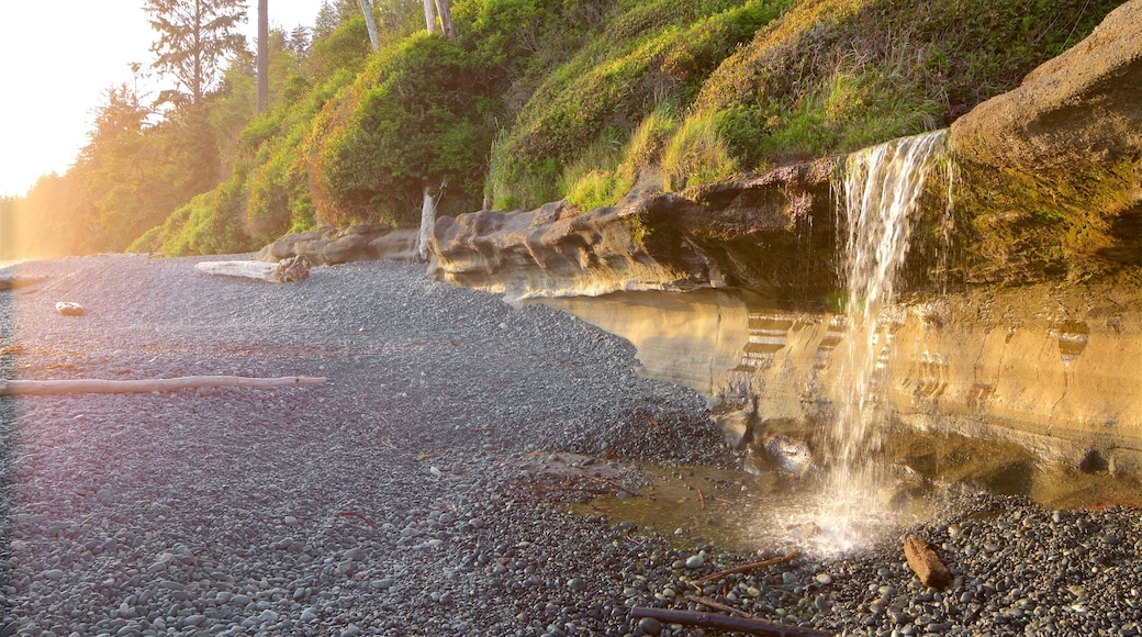 Sooke featuring a pebble beach and a sunset