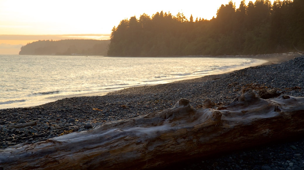 Sooke showing general coastal views, a pebble beach and a sunset