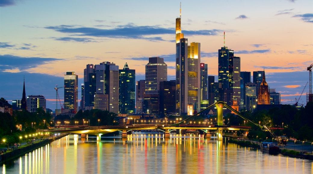Frankfurt featuring a sunset, a skyscraper and a city