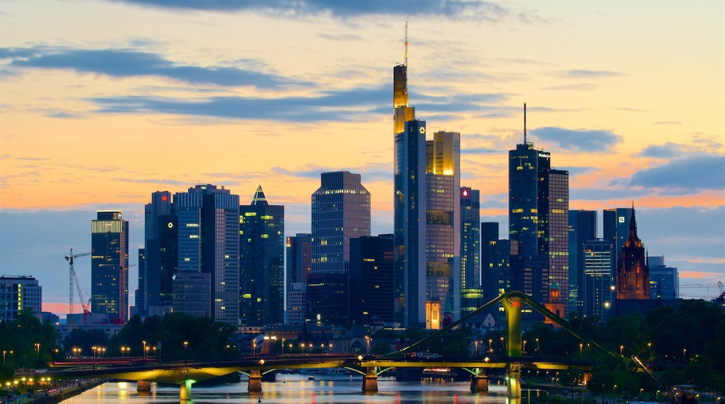 Frankfurt showing a sunset, a bridge and a skyscraper