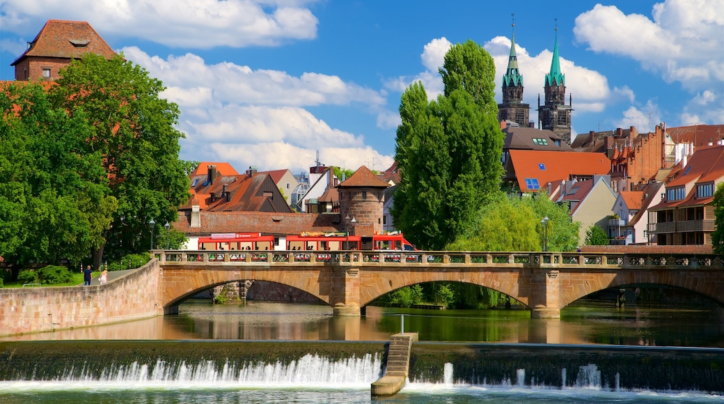 Nuremberg showing a bridge, heritage elements and a river or creek