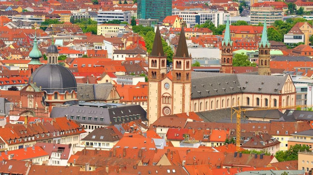 Würzburger Dom presenterar en stad, historiska element och landskap