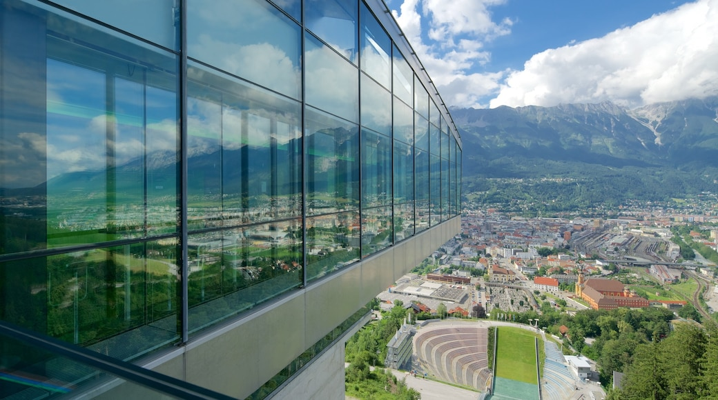 Bergisel Ski Jump featuring tranquil scenes and a city