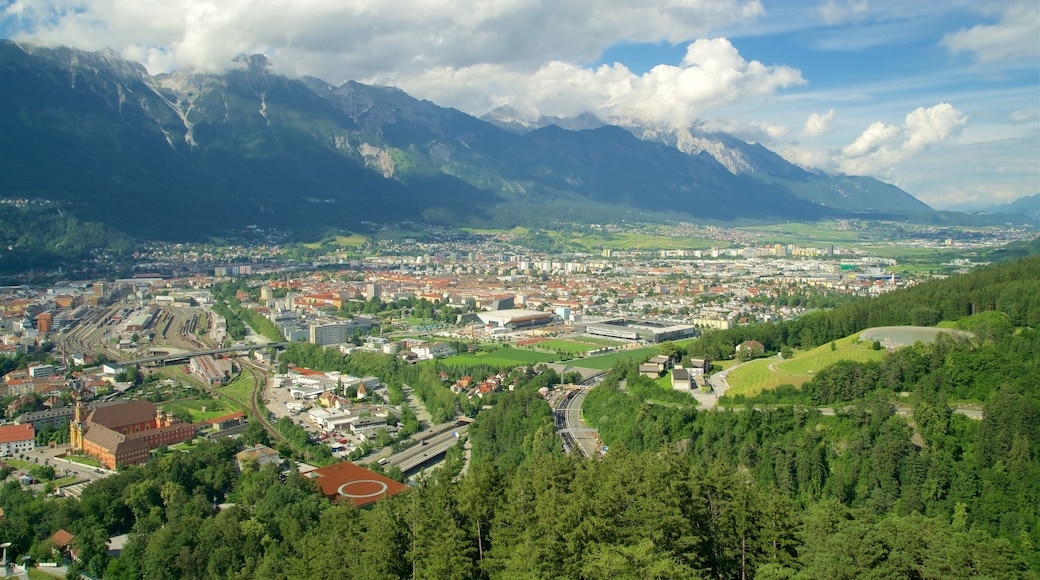 Bergisel Ski Jump featuring mountains, landscape views and a city