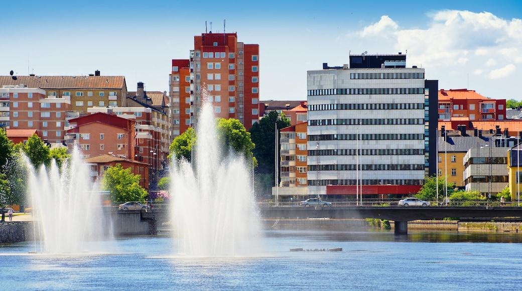 Norrköping som visar en fontän, en stad och en damm