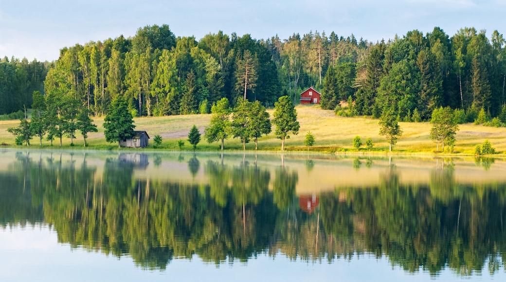Dalsland presenterar åkrar, en sjö eller ett vattenhål och skogar
