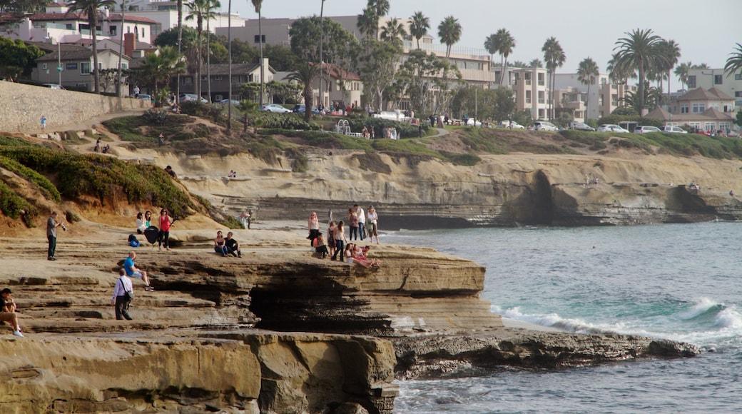 La Jolla Cove que inclui uma cidade litorânea, litoral acidentado e cenas tropicais