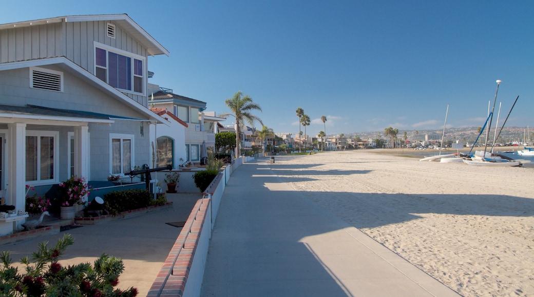 Mission Beach que inclui cenas tropicais, paisagem e uma praia de areia