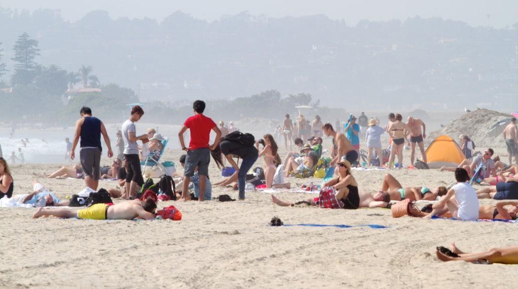 Coronado Beach welches beinhaltet Strand sowie große Menschengruppe