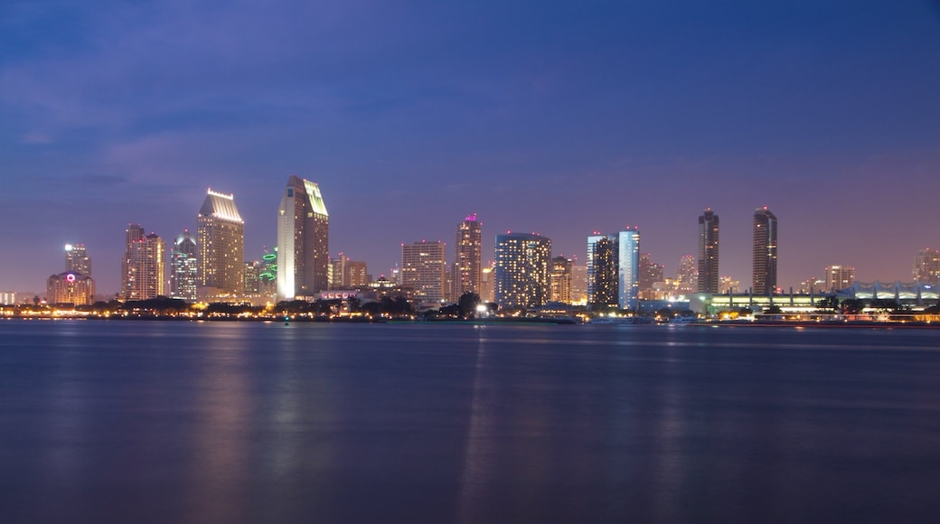 Coronado Beach featuring a high rise building, night scenes and cbd