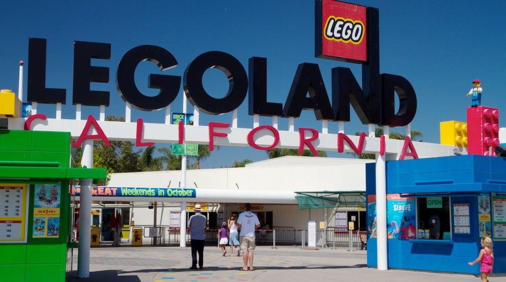 Legoland California which includes rides and signage