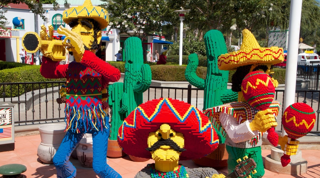 Legoland California showing outdoor art and rides