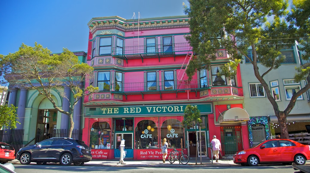 Haight-Ashbury which includes café scenes, street scenes and shopping