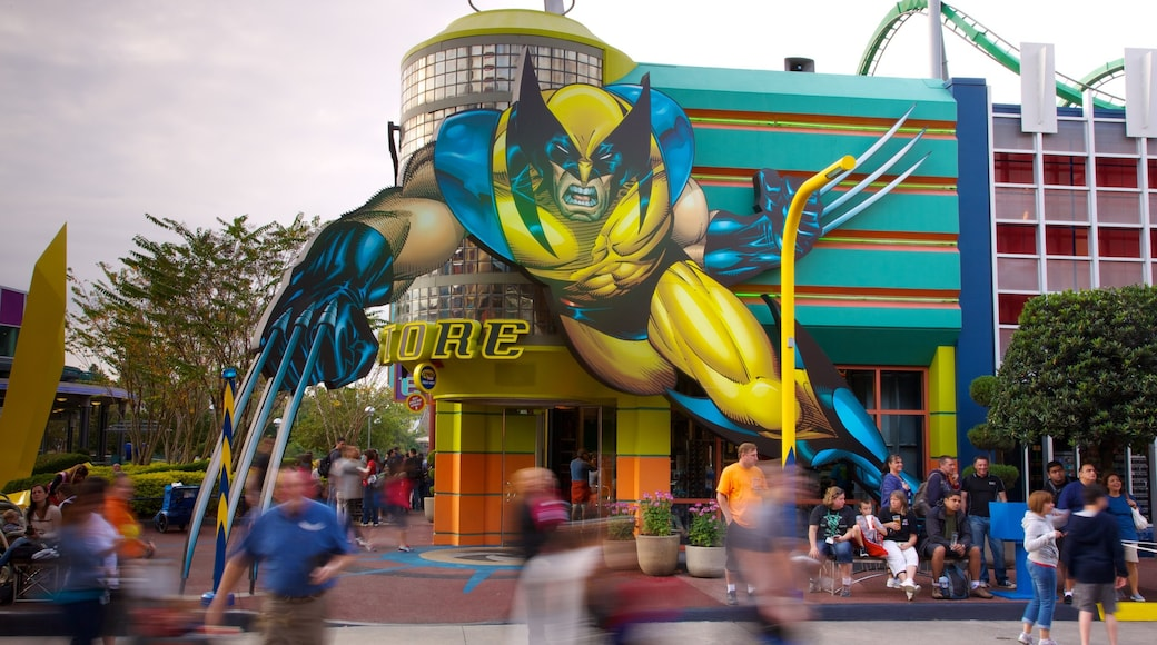 Universal Studios Orlando showing rides and a city