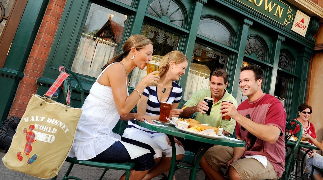Epcot® que inclui uma cidade, cenas de rua e comida