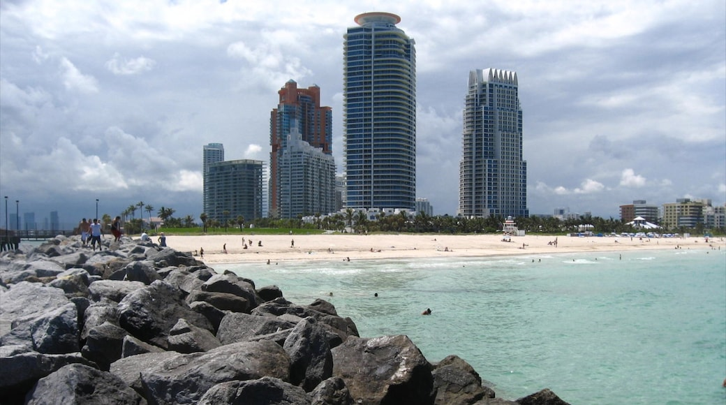 South Beach showing landscape views, swimming and a sandy beach