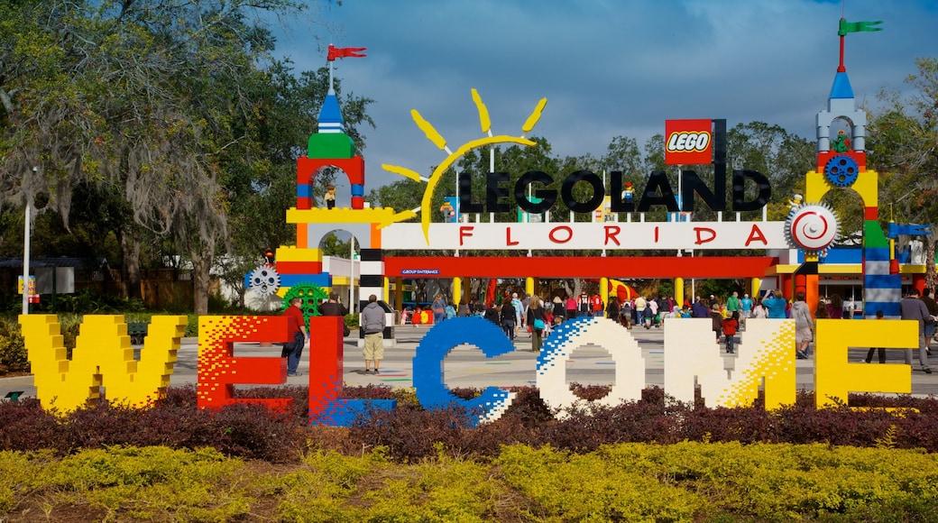 Legoland Florida featuring signage, a park and rides