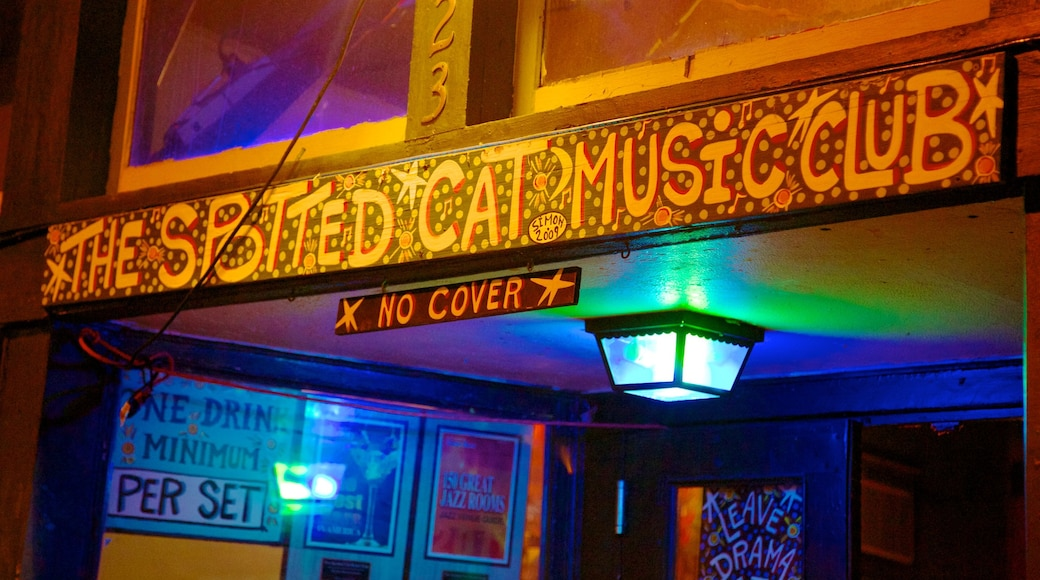 Frenchmen Street Jazz Clubs which includes interior views, nightlife and signage