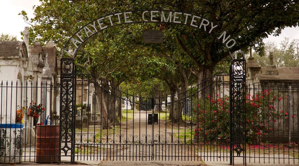 Lafayette Cemetery das einen Gedenkstätte, Beschilderung und Friedhof