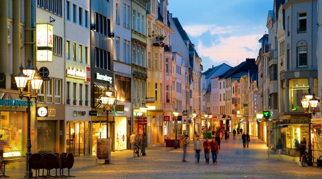 Bonn Marketplace featuring night scenes