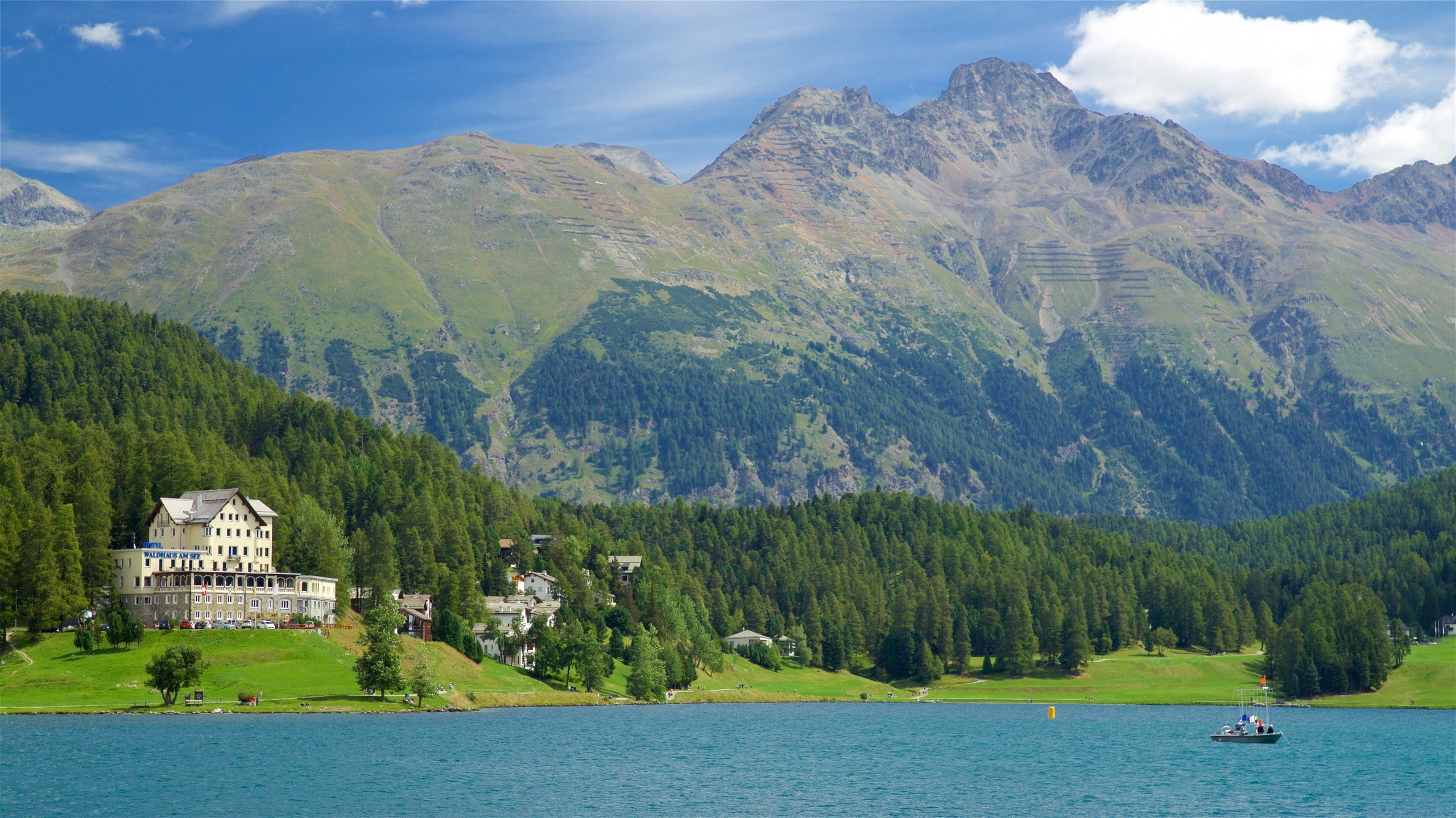 Lake St. Moritz, St. Moritz, Graubuenden, Switzerland