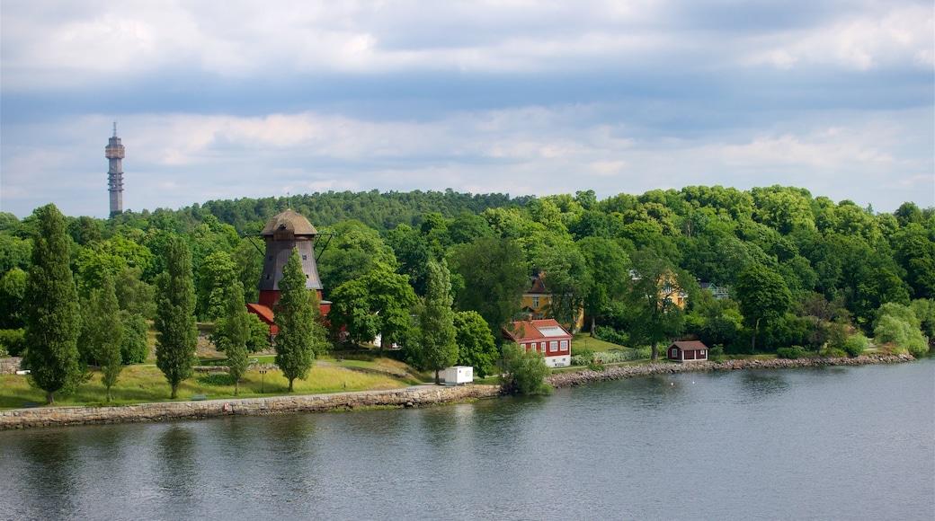 Stockholm som viser rolig landskap og elv eller bekk