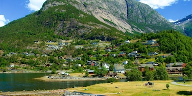 Eidfjord which includes mountains, a lake or waterhole and a small town or village