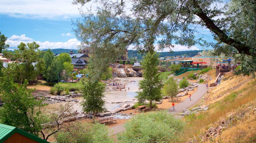 Pagosa Springs welches beinhaltet Fluss oder Bach und Kleinstadt oder Dorf