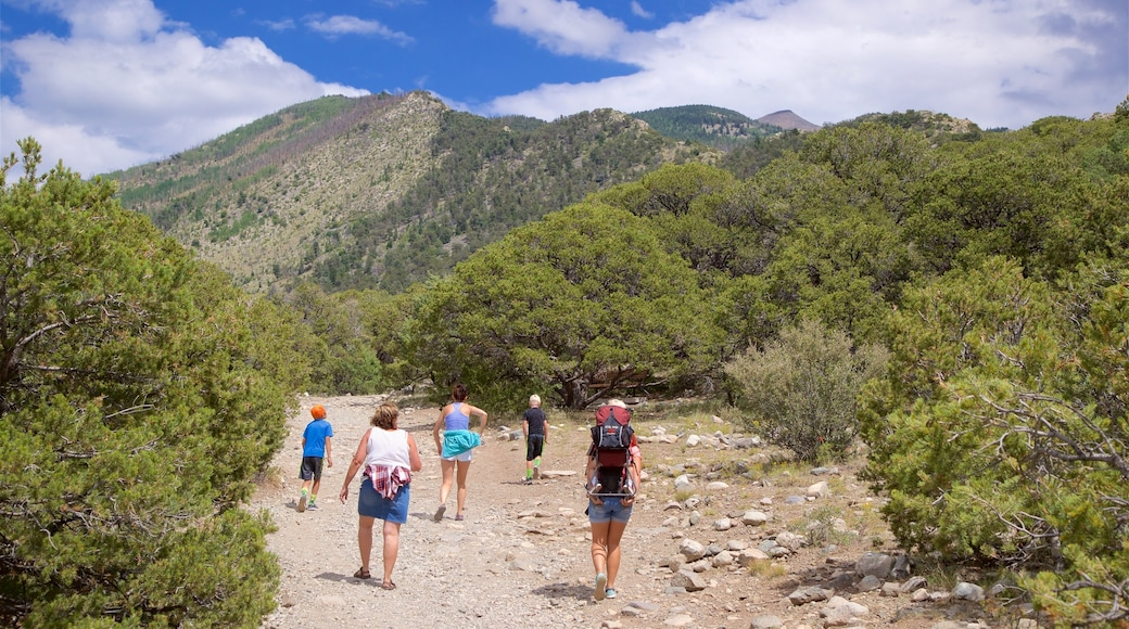 Sangre de Cristo Mountains showing hiking or walking and tranquil scenes as well as a small group of people