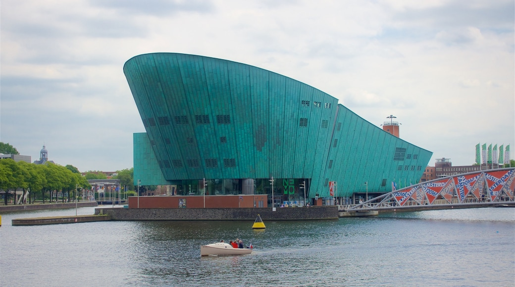 Nemo Science Museum which includes a bridge, a river or creek and modern architecture
