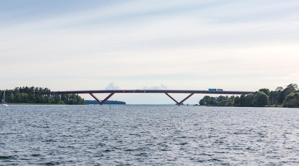 Motala som inkluderar en sjö eller ett vattenhål och en bro