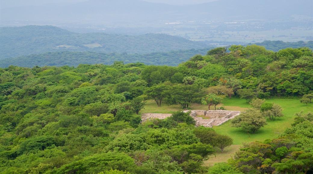 Zona monumental arqueológica de Xochicalco mostrando escenas tranquilas y vistas de paisajes