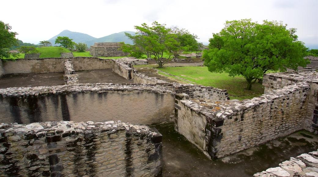 Zona monumental arqueológica de Xochicalco mostrando un jardín y una ruina