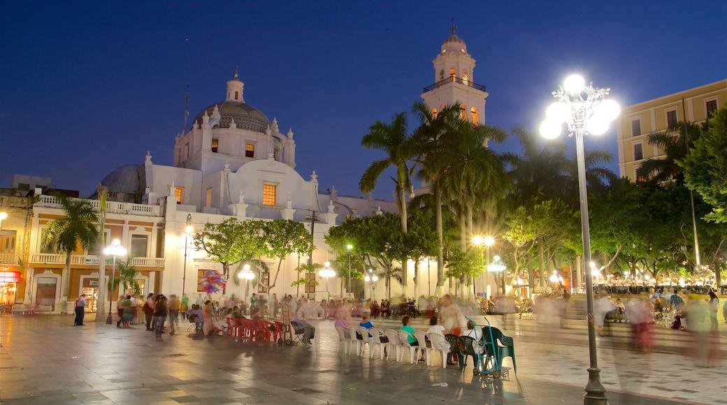 Catedral de Veracruz mostrando un parque o plaza, escenas nocturnas y elementos del patrimonio