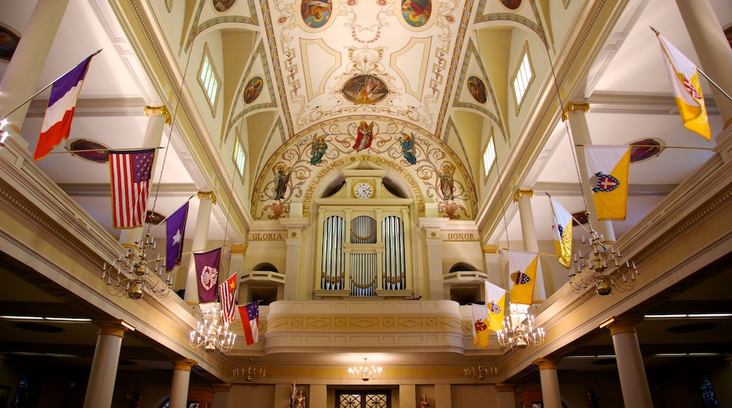 Saint Louis Cathedral which includes a church or cathedral, religious elements and interior views